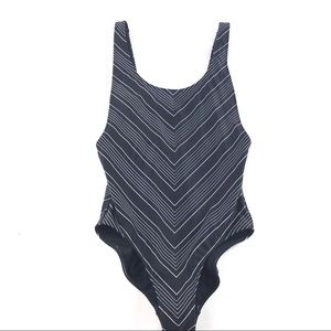 Athleta High Leg One Piece Swimsuit Black Chevron